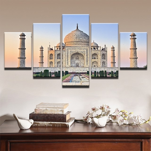 Taj Mahal Wall Art Pertaining To Current Framed Abstract Modern Home Decoration Canvas Print 5 Panel India (View 12 of 15)