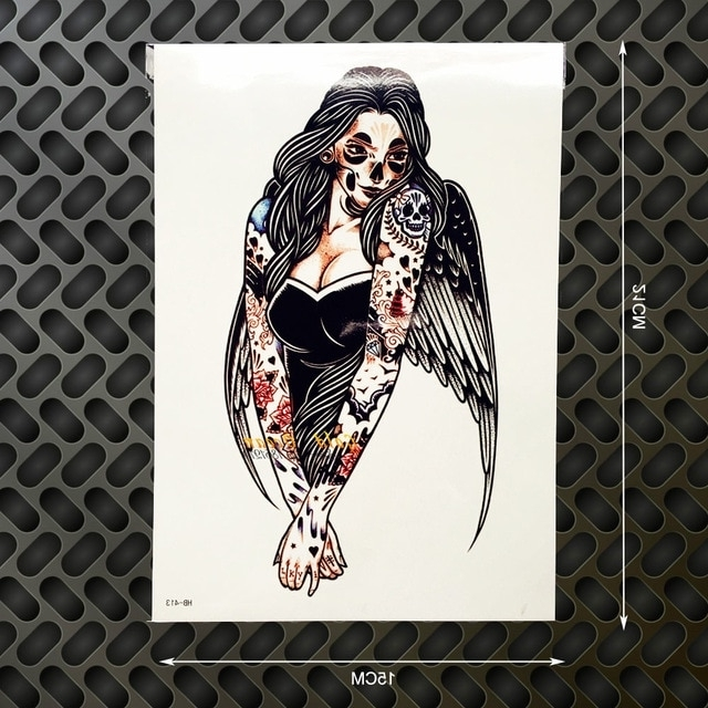Tattoo Wall Art Within Famous 1Pc Evil Angel Wings Flash Disposable Tattoo Body Art Arm Tattoo (View 13 of 15)
