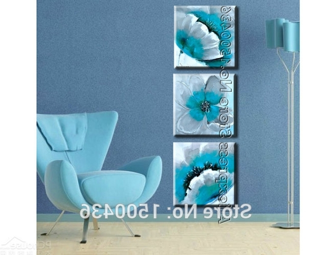 Teal Flower Canvas Wall Art Throughout Well Liked Abstract Knife Flower Canvas Oil Paintings 3 Panels Hand Painted (View 8 of 15)