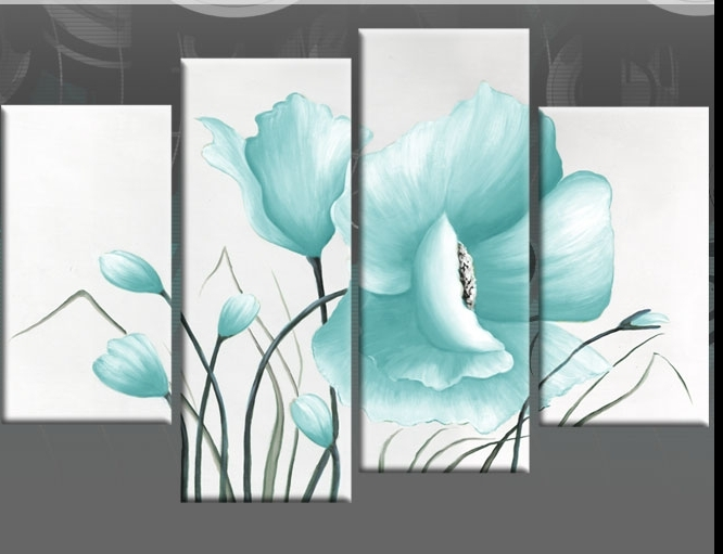 Teal Flower Canvas Wall Art With Regard To Recent Duck Egg Blue Large Poppy With Buds In 4 Panel Canvas Wall Art Print (View 14 of 15)