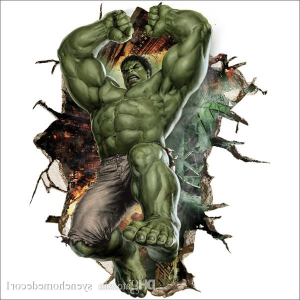 The Avengers 3D Wall Stickers Posters Decals Cartoon Ironman Hulk Inside Favorite Avengers 3D Wall Art (View 13 of 15)
