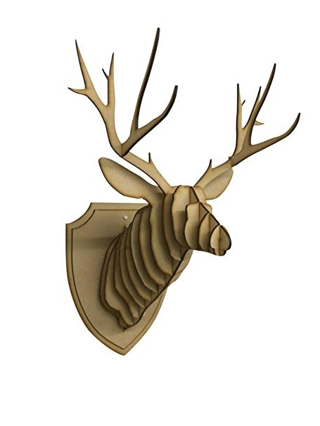 The Crafty Cow Large/small Wooden Deer Head Wall Art Decor – Laser In Fashionable Stag Head Wall Art (View 15 of 15)