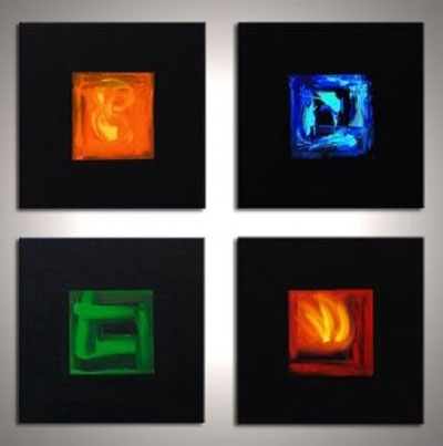 The Four Elements Ii-Modern Canvas Art Wall Decor-Abstract Oil with regard to Most Recent Elements Wall Art