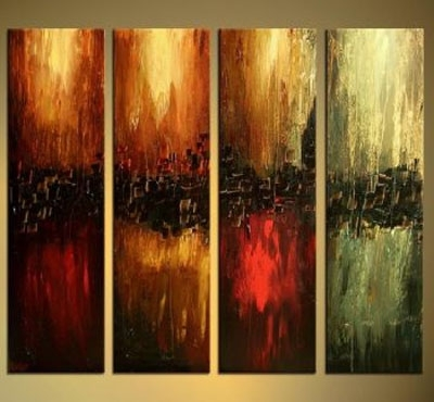 The Four Elements Modern Canvas Art Wall Decor Abstract Oil Painting Within Popular Elements Wall Art (View 15 of 15)