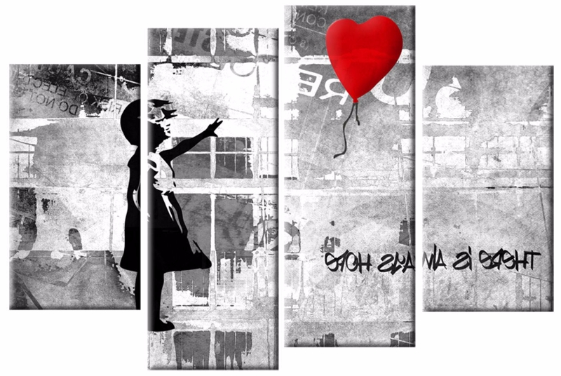 The Girl With The Red Balloon Banksy 4 Panel Canvas Wall Art Print Throughout Favorite Banksy Wall Art Canvas (View 13 of 15)
