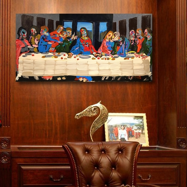 The Last Supper Wall Art With Regard To Most Recently Released Qk Artframeless Wall Art Canvas Painting The Last Supper Abstract (View 7 of 15)