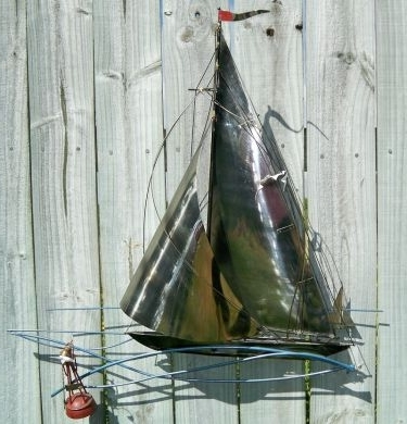 Thevintagecrowsnest – Vintage Sailboat Nautical Metal Wall Art Throughout Best And Newest Metal Sailboat Wall Art (View 14 of 15)