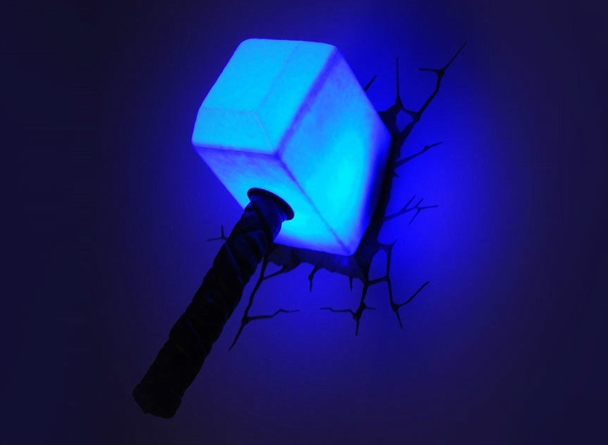 Thor Hammer 3D Wall Art Inside Most Up To Date 3D Wall Decor Marvel Nightlights Unique Marvel Avengers Thor Hammer (View 11 of 15)