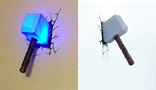 Thor Hammer: Amazon Throughout Widely Used 3D Wall Art Thor Hammer Night Light (View 5 of 15)