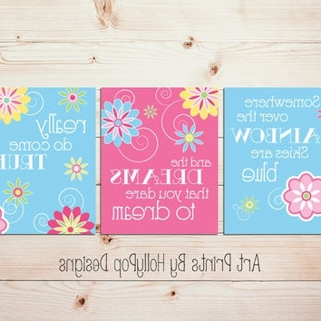 Toddler Girls Room Wall Art Pink Blue From Hollypop Designs Inside Well Liked Little Girl Wall Art (View 11 of 15)