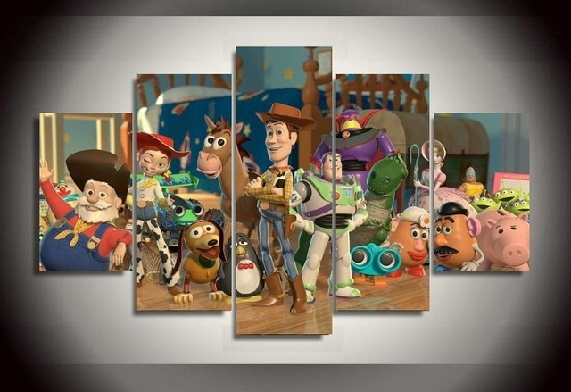 Toy Story Wall Art Inside Newest Hot Cartoon Movie Toy Story Canvas Poster Room Decoration Wall Art (View 10 of 15)