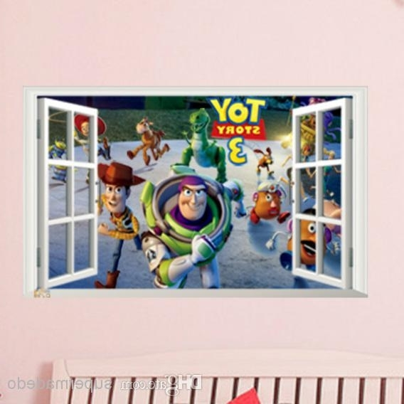 Toy Story Wall Art Regarding Best And Newest Toy Story Wall Stickers Fake Window Movie Poster For Children Room (View 4 of 15)