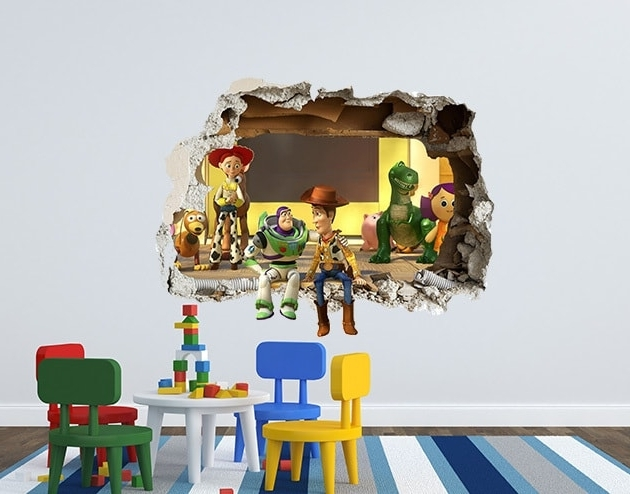 Toy Story Wall Stickers Throughout 2017 Toy Story 3D Smashed Wall Decal Featuring The Cast Of Toy Story (View 5 of 15)