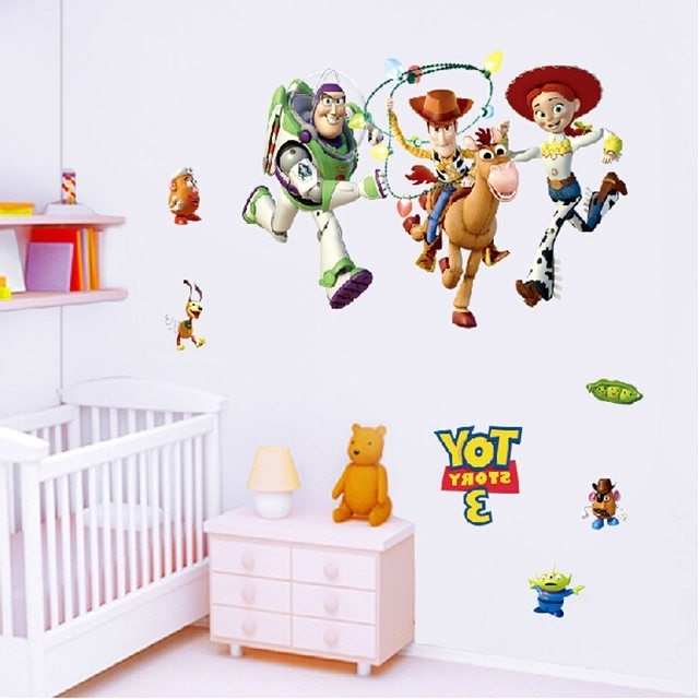 Toy Story Wall Stickers With Regard To Most Popular Online Shop Wall Painting Buzz Lightyear Toy Story Wallpaper Vinyl (View 11 of 15)