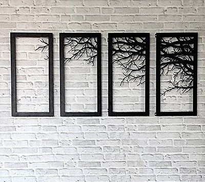 Tree Branch Framed Wall Accessory Decor Laser Cutting Metal In Famous Metal Framed Wall Art (View 7 of 15)