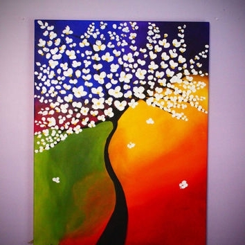 Tree Painting, Large Wall Art, 3D Art, From Artbychristinadudycz In Newest 3D Visual Wall Art (View 8 of 15)