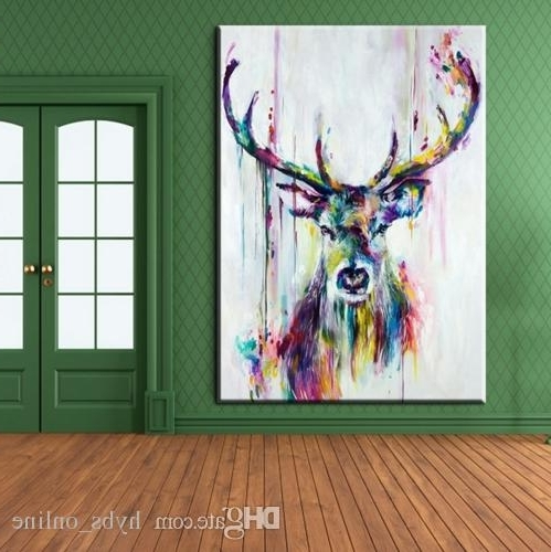 Trendy 2018 Framed Pure Handpainted Modern Abstract Animal Art Oil Painting Throughout Abstract Deer Wall Art (View 11 of 15)