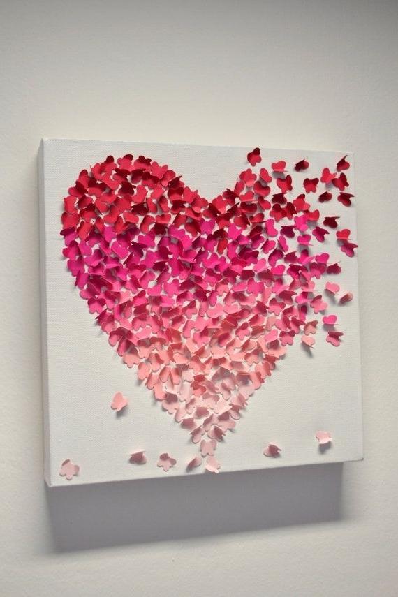 Trendy 3D Butterfly Heart Wall Art - Small Pink Ombre / Nursery Decor in Heart 3D Wall Art