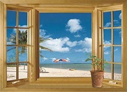 Trendy 3D Wall Art Window Pertaining To Amazon: 3D Beach Window View Removable Wall Stickers Vinyl Decal (View 12 of 15)