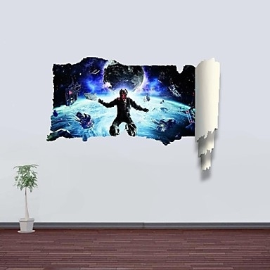 Trendy 3D Wall Stickers Wall Decals, Outer Space Decor Vinyl Wall Stickers Within Vinyl 3D Wall Art (View 6 of 15)