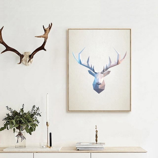 Trendy Abstract Deer Head Wall Art Print Pictures , Geometric Polygonal Intended For Abstract Deer Wall Art (View 12 of 15)