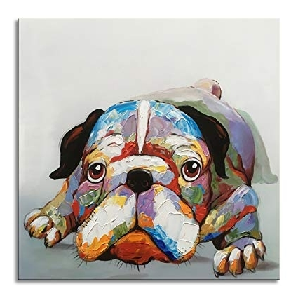 Trendy Abstract Dog Wall Art In Amazon: Everfun Art Everfun Oil Painting Abstract Dog Canvas (View 4 of 15)