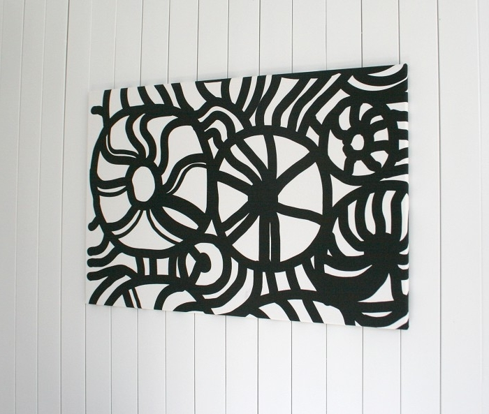 Trendy Abstract Fabric Wall Art Inside Black And White Abstract Fabric Wall Art, Wall Hanging, Large Size (View 15 of 15)