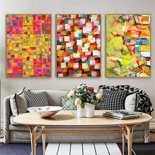 Trendy Abstract Wall Art For Office Intended For Haochu Irregular Color Block Puzzle Abstract Canvas Painting (View 12 of 15)