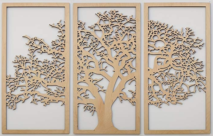 Trendy Amazon: Tree Of Life 3D Maple – 3 Panel Wood Wall Art Inside Wood 3D Wall Art (View 9 of 15)