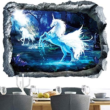 Trendy Amazon: Unicorn Wall Decal 3D Window Wall Sticker Removable Home Throughout 3D Unicorn Wall Art (View 13 of 15)