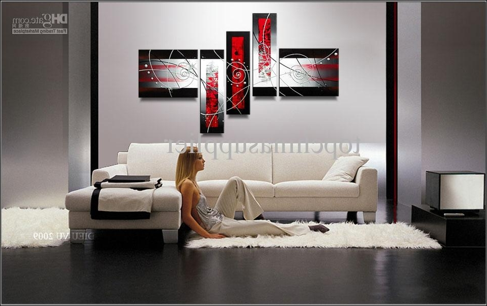 Trendy Art Modern Abstract Oil Painting Handpainted Cool Painting Intended For Wall Art Multiple Pieces (View 8 of 15)