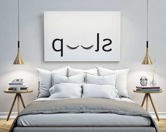 Trendy Bed Wall Art With Sleep – Bedroom – Printable Poster – Typography Print Black & White (View 14 of 15)