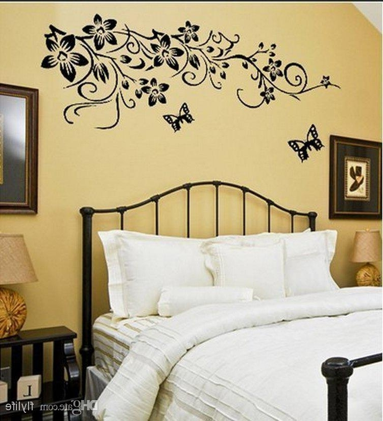 Trendy Black Butterflies Wall Stickers Flowers Art Home Decor Wall Decals In Butterflies Wall Art Stickers (View 8 of 15)