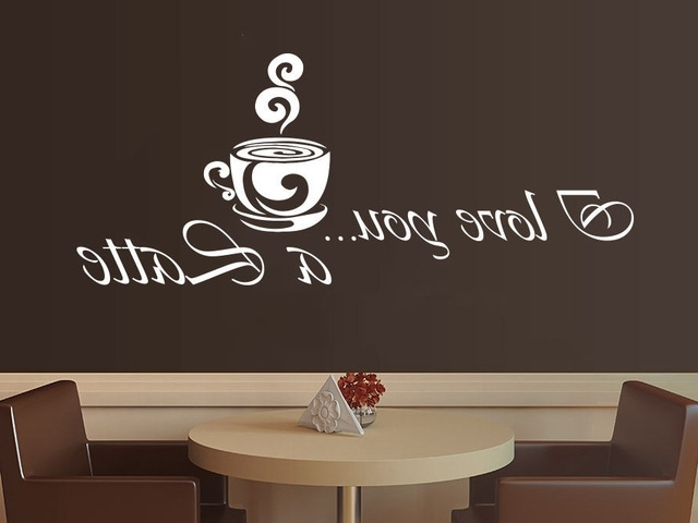 Trendy Cafe Latte Kitchen Wall Art Pertaining To Coffee Vinyl Wall Decal Coffee Latte Kitchen Cafe Interior Decor (View 2 of 15)