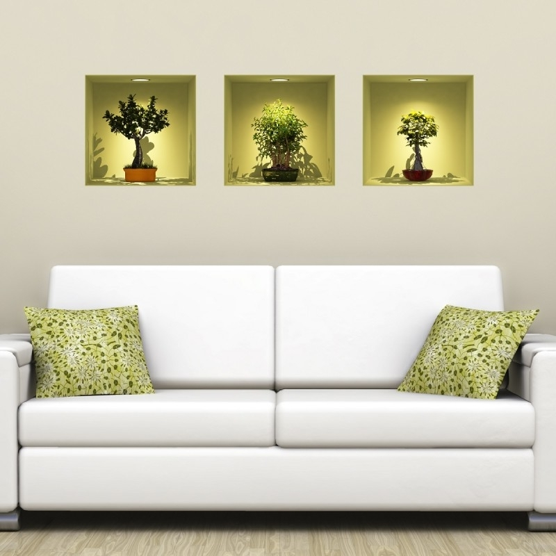 Trendy Colored Bonsais 3D Effect Wall Decals Cheap – Home Discount – Wall For 3D Effect Wall Art (View 15 of 15)