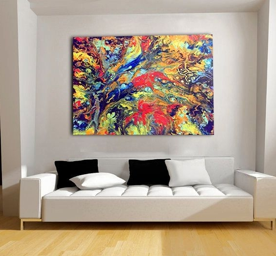 Trendy Colorful, Extra Large Wall Art, Oversized Abstract Metal Print Intended For Extra Large Canvas Abstract Wall Art (View 8 of 15)