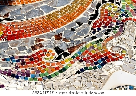 Trendy Colorful Glass Mosaic Art Abstract Wall Stock Photo (Edit Now Intended For Abstract Mosaic Art On Wall (View 10 of 15)