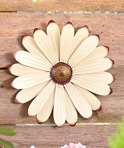 Trendy Cream Metal Wall Art Throughout Cream Metal Flower Wall Art Garden Whimsical Spring Flowerpot Decor (View 14 of 15)