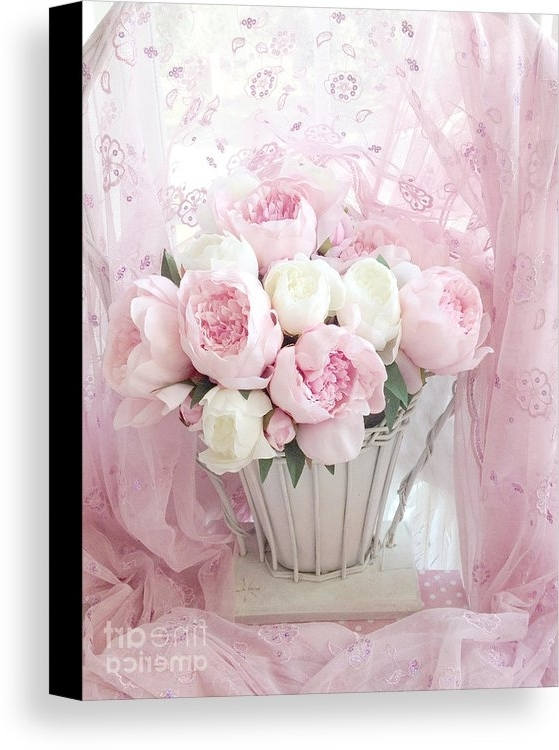 Trendy Dreamy Shabby Chic Basket Of Pink White Peonies – Vintage Pink White Within Shabby Chic Canvas Wall Art (View 14 of 15)