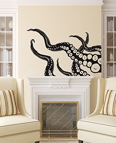 Trendy Fish Decals For Bathroom Pertaining To Amazon: Octopus Wall Decal Tentacles Vinyl Sticker Decals Kraken (View 7 of 15)