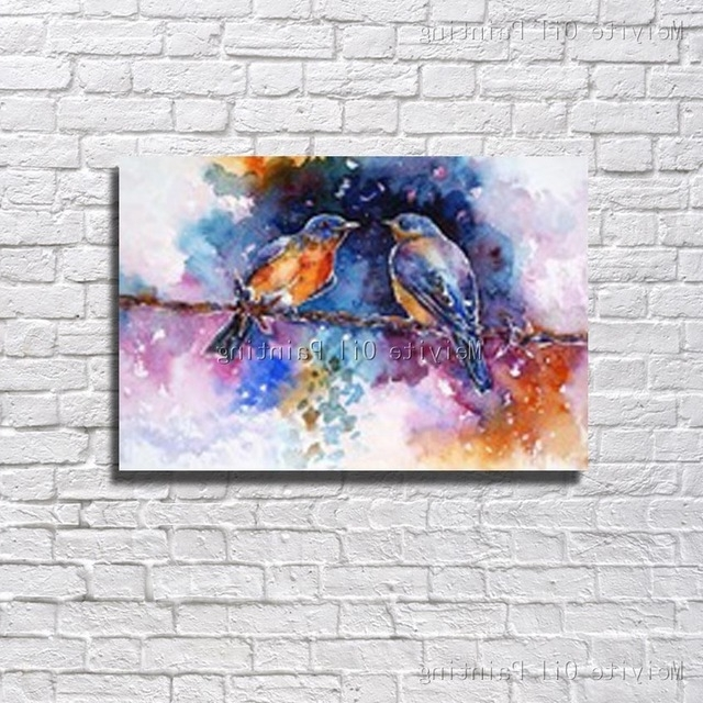Trendy Free Shipping Hand Painted Oil Painting On Canvas Abstract Birds Oil Within Abstract Bird Wall Art (View 15 of 15)
