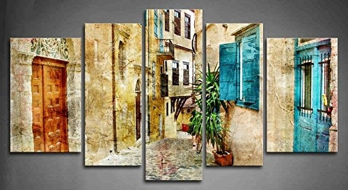 Trendy Greek Wall Art Throughout Amazon: 5 Panel Wall Art Old Streets Of Greece Painting The (View 13 of 15)