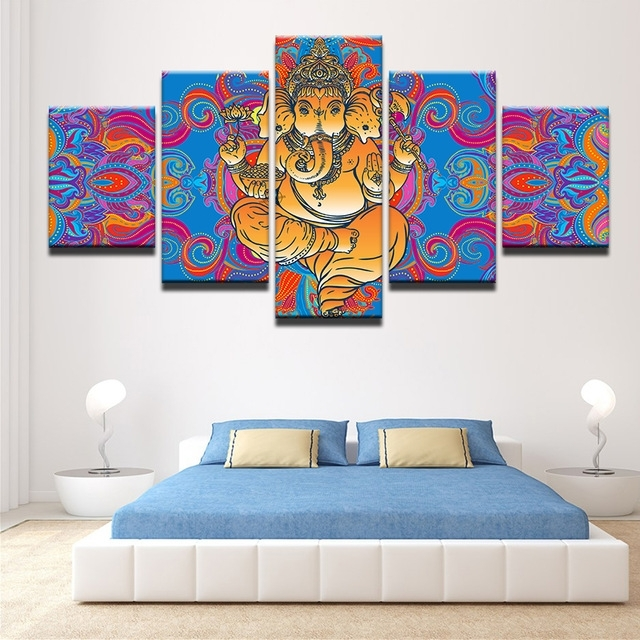 Trendy India Abstract Wall Art Intended For Abstract Canvas Painting Wall Art Poster 5 Pieces India God Ganesha (View 2 of 15)
