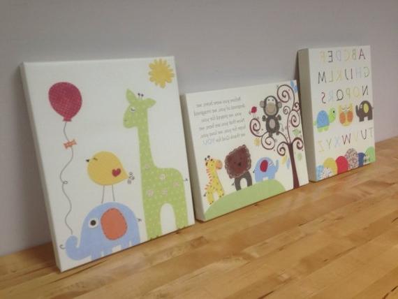 Trendy Kids Canvas Wall Art Inside Gorgeous Inspiration Kids Canvas Wall Art Prints For Nursery Ba (View 2 of 15)