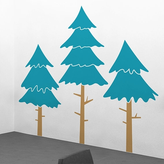 "Trendy Large Alpine Pine Tree Wall Decals – 76"" X 72"" Tree Wall Sticker Intended For Pine Tree Wall Art (View 12 of 15)"
