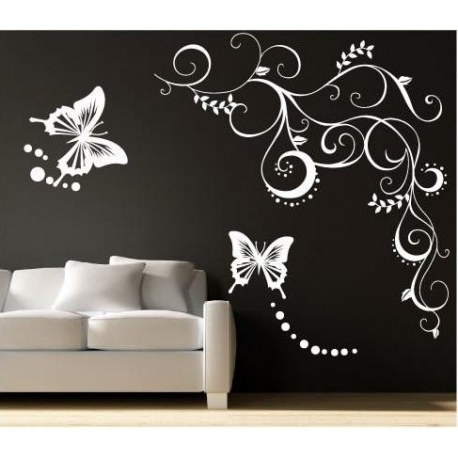 Trendy Large Butterfly Wall Sticker, Butterflies Wall Decal For Your Bedroom (View 4 of 15)
