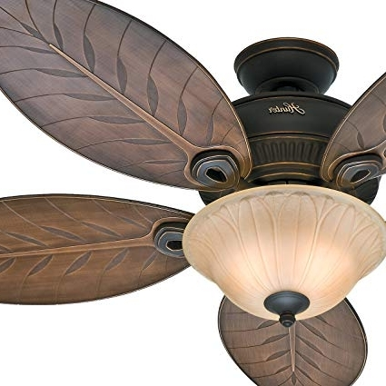 "Trendy Leaf Blades Outdoor Ceiling Fans In Hunter Fan 54"" Outdoor Ceiling Fan With Toffee Glass Light Kit,  (View 12 of 15)"