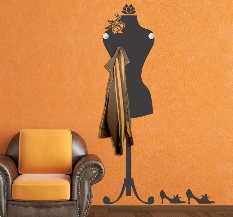 Trendy Mannequin Coat Rack Sticker – Tenstickers Regarding Mannequin Wall Art (View 12 of 15)