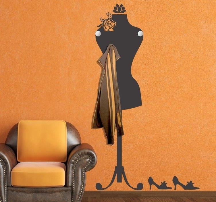 Trendy Mannequin Coat Rack Sticker – Tenstickers Regarding Mannequin Wall Art (View 12 of 15)
