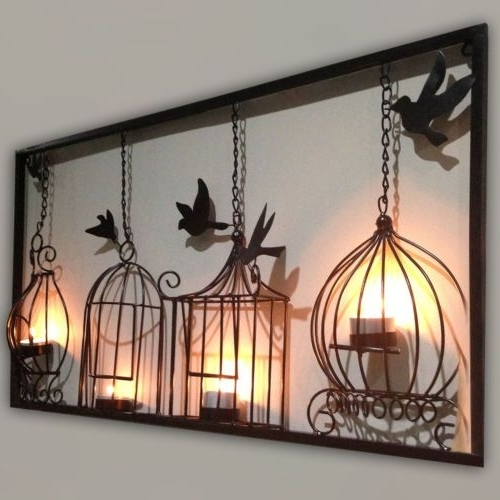 Trendy Metal Birdcage Wall Art Within Birdcage Tea Light Wall Art Metal Wall Hanging Candle Holder Black (View 9 of 15)